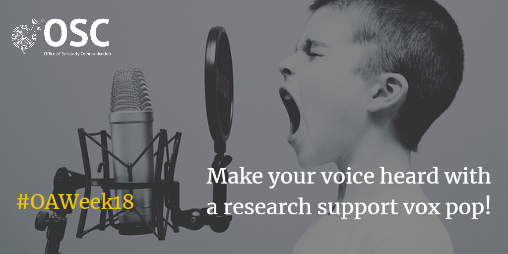 Announcement 'Make your voice heard with a research support vox pop'